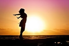 女性, 幸福, 日の出, シルエット, ドレス, ビーチ, 自由, 呼吸, 喜び