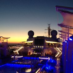 Gorgeous sunset aboard Celebrity 'Reflection' as she sails across the Aegean, Greece (at Mykonos)