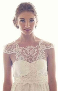 lace flower sleeves, gorgeous wedding dress.
