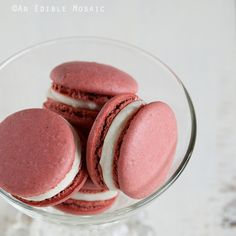 Red Velvet Macarons Recipe Desserts with large egg whites, powdered sugar, almond meal, unsweetened cocoa powder, fine salt, pure vanilla extract, red food coloring, sugar, unsalted butter, cream cheese, pure vanilla extract, powdered sugar