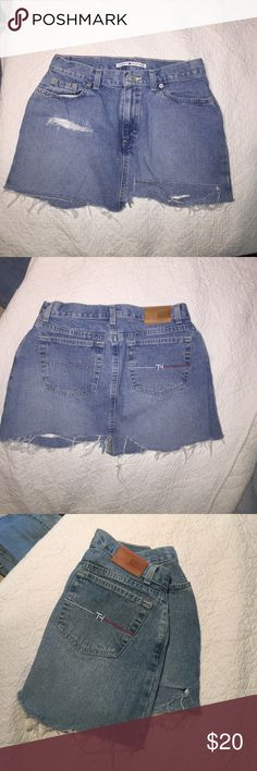 Jean mini skirt Tommy Hilfiger hand destroyed mini skirt with rips and uneven hemline. Tommy Hilfiger Skirts Mini