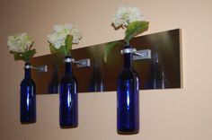 Recycled Wine Bottle Oil Lamps or Vases  Cobalt by DNRWoodworks, $89.00