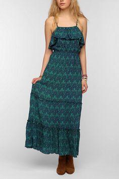Staring At Stars Scarf Print Ruffled Maxi Dress #urbanoutfitters