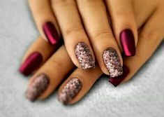 Red and flower nails arts desgin