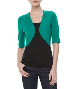 Featherweight Cashmere Shrug, Emerald by Michael Kors at Neiman Marcus.