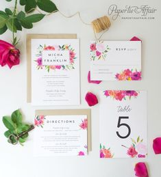 Floral Wedding Invitation Watercolor Floral von PaperTieAffair