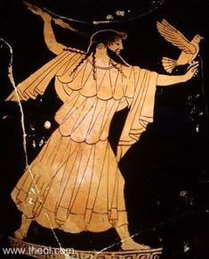 Zeus, king of the gods, with lighting & eagle | Greek vase, Athenian red figure amphora