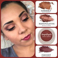 The beauty of combining textures when doing your #eyemakeup: #matte caramel (gingerly), burnt orange (Unapologetic) and burgundy (fervent), paired with #metallic copper (manipulative). Build your own quad www.taniaslashes.com #younique #taniaslashes #splurge #warmtone