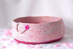 Pink Storage Basket Handmade Pink Cotton Basket Shabby Chic