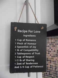 SHABBY COUNTRY STYLE CHIC RECIPE FOR LOVE SLATE PLAQUE SIGN