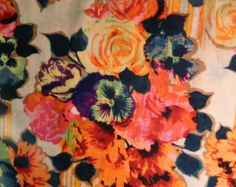 Betsy Johnson Printed Linen Floral Fabric by the Yard