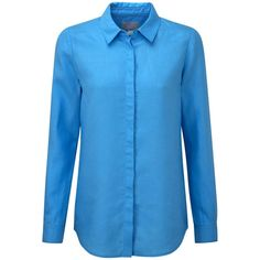 Pure Collection Tessa Shirt, Azure Blue ($85) ❤ liked on Polyvore featuring tops, pure collection, blue shirt, sleeve shirt, collared shirt and long sleeve linen shirt