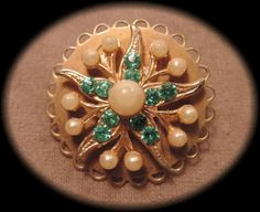 Gold Tone Starfish Pin with Blue Rhinestones and by thejeweledbear, $8.00
