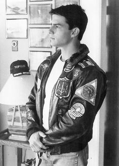 Tom Cruise on the set of Top Gun wearing our Movie Heroes Jacket
