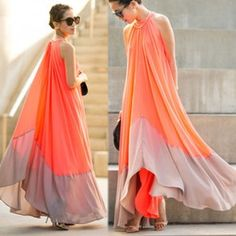Red Patchwork Pleated Round Neck Casual Chiffon Maxi Dress