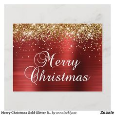 Merry Christmas Gold Glitter Red Foil Holiday Postcard