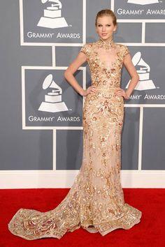 Taylor Swift inZuhair Murad  2012 Grammy Awards Red Carpet.