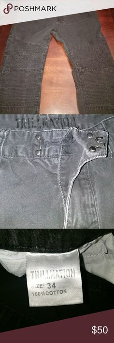 EUC TrillNation moto jeans Worn once.  Comfy moto jeans with ridges in the front and back. Has cool latch button near zipper area. TrillNation Jeans