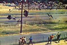 Vintage Drag Racing - Richie Broughton at Connecticut Dragway, cage with Richie still in it at left, notice engine with fuel lines still trailing fuel by the pole...Richie was barely scratched in this crash and asked what he had turned