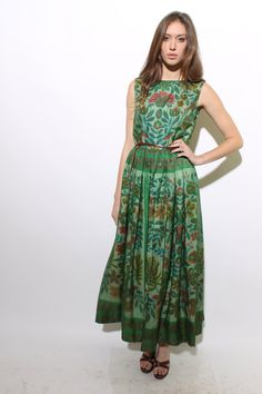 60s PALAZZO printed  jumpsuit lounge hostess wide leg psychedelic floral pleated dress sheer silk green flower skirt gown pattern L. $198.00, via Etsy.
