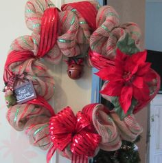 ...at the cottage - red and green strip mesh with red ribbon and poinsettia created by DonElla Nielsen