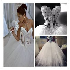 2016 White Wedding Dresses Sexy Lace Ball Gown Beading wedding dresses Pearls Hot sale sweetangel New arrived 184.64 usd