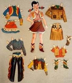 1950s Cowgirl Paper Doll and Outfits