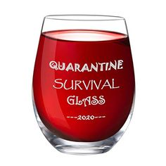 Quarantine Survival Glass 2020 Stemless Wine Glass 15 oz Novelty Crystal Cup with Sayings Funny Gifts Party Accessori...