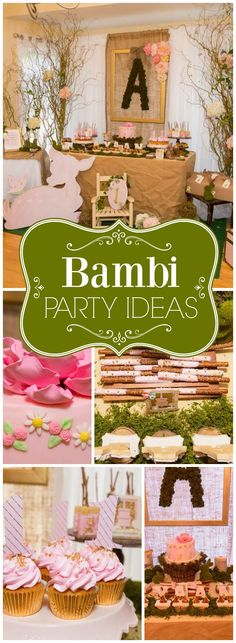 How beautiful is this pink and gold Bambi themed first birthday party! See more party ideas at CatchMyParty.com!