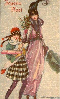 Vintage Christmas postcard, ca. Vintage Christmas Images, Old Christmas, Christmas Scenes, Victorian Christmas, Retro Christmas, Vintage Holiday, Christmas Pictures, Christmas Postcards, Christmas Fashion