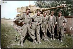 """The crew of a Pz.Kpfw.IV Ausf.G from the 2nd SS Panzer Regiment, 2nd SS Division """"Das Reich"""" at Kursk. 7th August 1943. Left to right: Tank commander, SS-Unterscharführer Gustav Schinner gunner Rottenführer SS-Kurt Bunzeck; driver-mechanic Rottenführer SS-Georg Colemonts; Loader SS-Schütze Zülcke; MG.gunner/radio operator SS- Heinz Wentzel."""