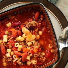 Slow Cooker for Olive Garden's Pasta Fagioli Soup (halve the recipe for smaller crockpots!)