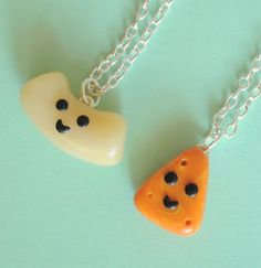 Kawaii Best Friend Necklaces Macaroni and cheese, for u && me.