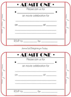 diy tickets for movie night birthday invites pinterest movie