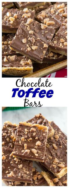 Chocolate Toffee Bars – crispy toffee flavored bars topped with chocolate and lots of bits of toffee. Just 6 ingredients, and so easy to make!
