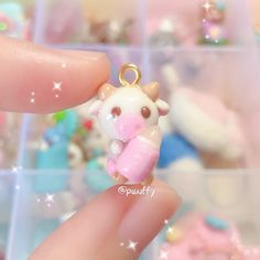 Strawberry Milk Cow Adorable Cute Polymer Clay Charm - Mini Key Ring