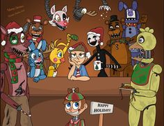FNAF 1 & 2 in christmas mode  they all wish you a merry christmas