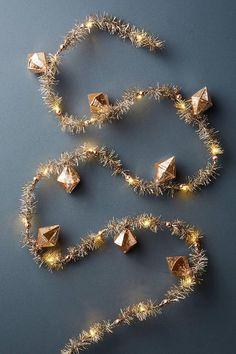 Blushing Pink Glass Gold Tinsel Garland