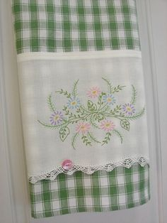 Tea Towel - Garden Nosegay - Vintage Recycled to Upcycled Homespun Home Decor Embroidery Scissors, Embroidery Transfers, Vintage Embroidery, Embroidery Patterns, Hand Embroidery, Machine Embroidery, Embroidery Stitches, Rose Patterns, Knit Stitches
