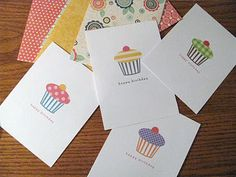 Free printable cupcake birthday cards