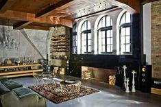 Stilmix Einrichtung Ideen Ziegelwand Kilim Kamin Wohnwand