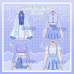 Cartoon Outfits, Anime Outfits, Mode Outfits, Manga Clothes, Drawing Anime Clothes, Cute Art Styles, Cartoon Art Styles, Blue Aesthetic Pastel, Clothing Sketches