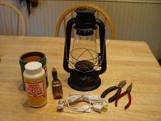 "Turn an oil lantern to a ""rusty,"" electric, primitive lantern."