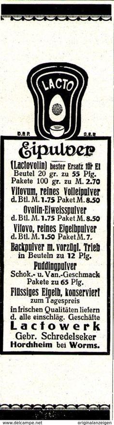 Original-Werbung/ Anzeige 1920 - LACTO EIPULVER / SCHREDELSEKER - HORCHHEIM BEI WORMS - Ca. 45 X 160 Mm - Werbung