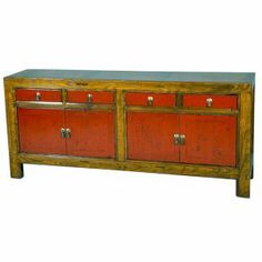 Buffet chinois brun et rouge - mobilierdasie.com