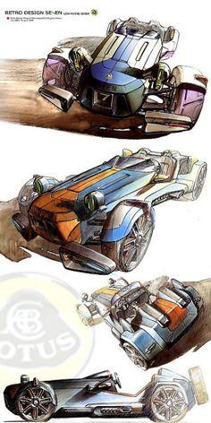 Retro Design Lotus Seven. Car Design Sketch, Car Sketch, Design Cars, Retro Design, Lotus 7, Pt Cruiser, Industrial Design Sketch, Car Illustration, Illustrations