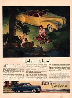 1941 Lincoln Zephyr V12 convertible car print ad by Vividiom, $9.00