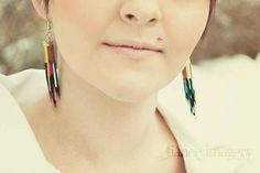 Rainbow Porcupine Quill Earrings Porcupine by AsanaNaturalArts