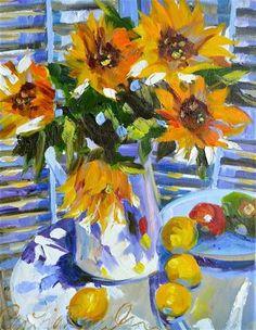 """SUN THROUGH SHUTTERS"" - Original Fine Art for Sale - © CECILIA ROSSLEE"