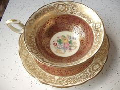 Vintage Hammersley gold tea cup and saucer, red and gold English tea set, gold bone china tea cup set